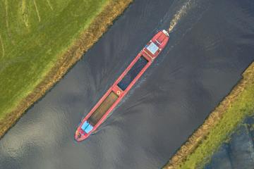 Inland waterways - top view of inland cargo ship